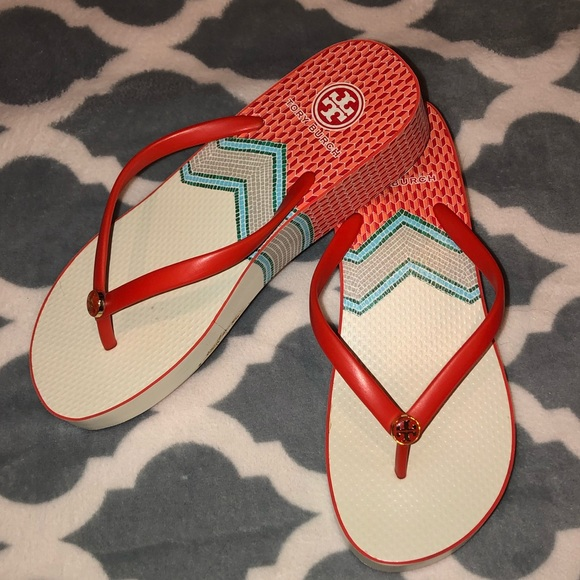 Tory Burch Shoes - Tory Burch Wedge Printed Flip Flops